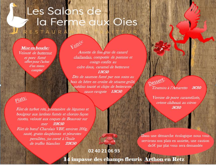 Menu spécial Saint Valentin 2021